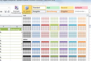 Tabellenformatierung in Excel