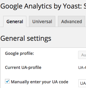 Screenshot Google Analytics Yoast Plugin