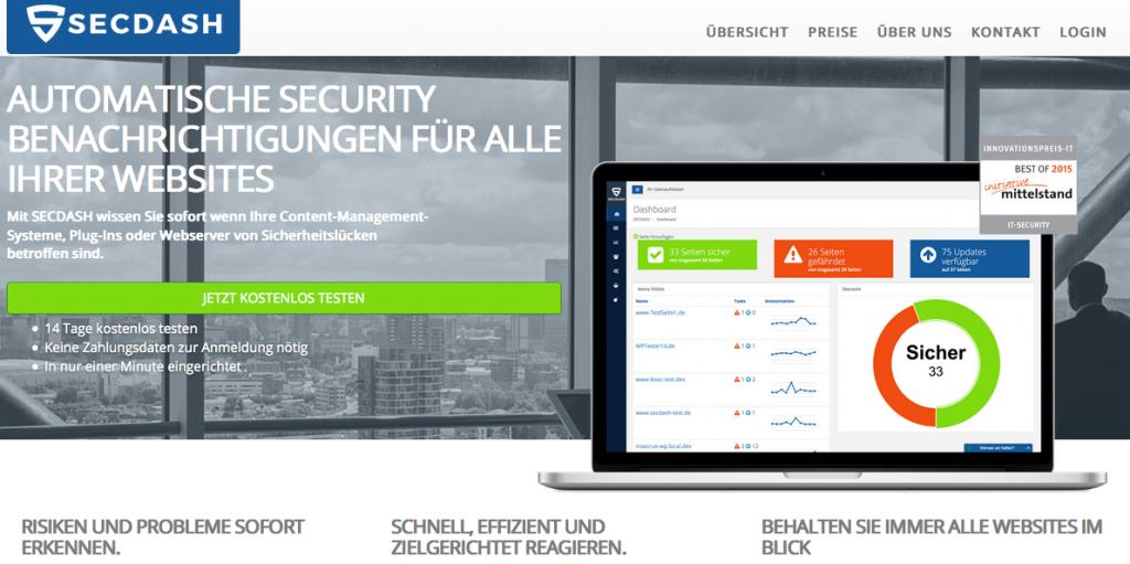 Screenshot SECDASH Website Monitoring Tool