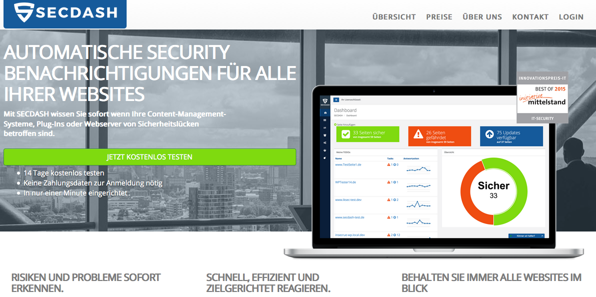 Vorstellung SECDASH – ein neues Website Monitoring Tool