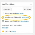 Passwortschutz für WordPress (Screenshot WordPress)