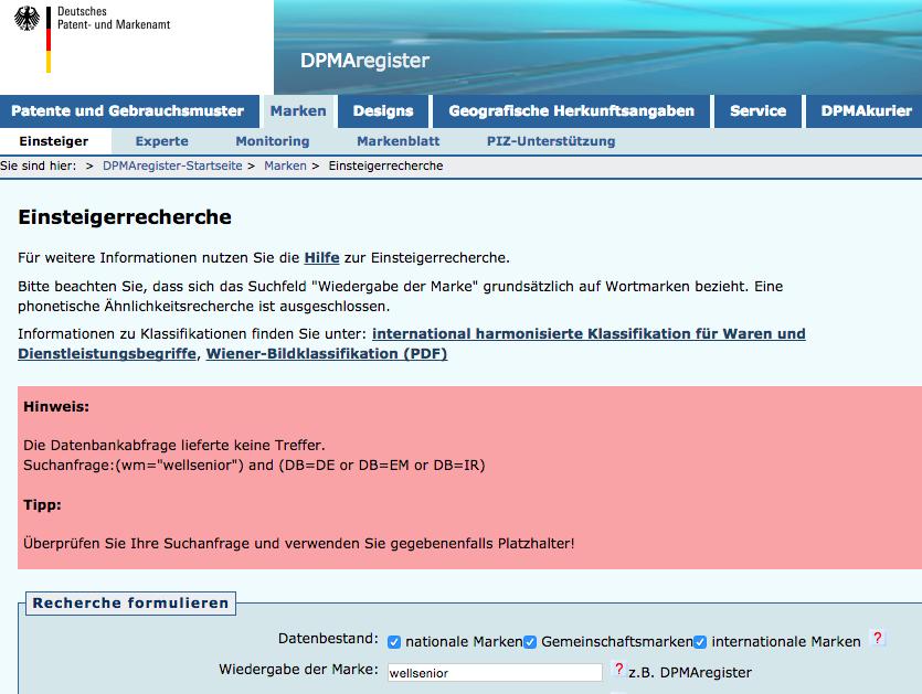 Namen und Domains beim Deutschen Patentamt und Markenamt prüfen
