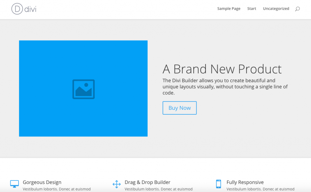 Screenshot: Divi Theme Vorlage Landingpage