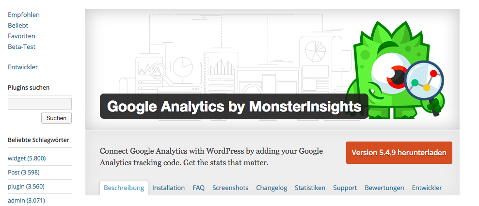 Monsterinsights WordPress Plugin zum Google Analytics einzubinden