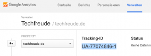 Screenshot UA Nummer Google Analytics