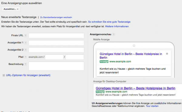 Neues Adwords Format