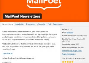 Screenshot Mailpoet Newsletter Plugin