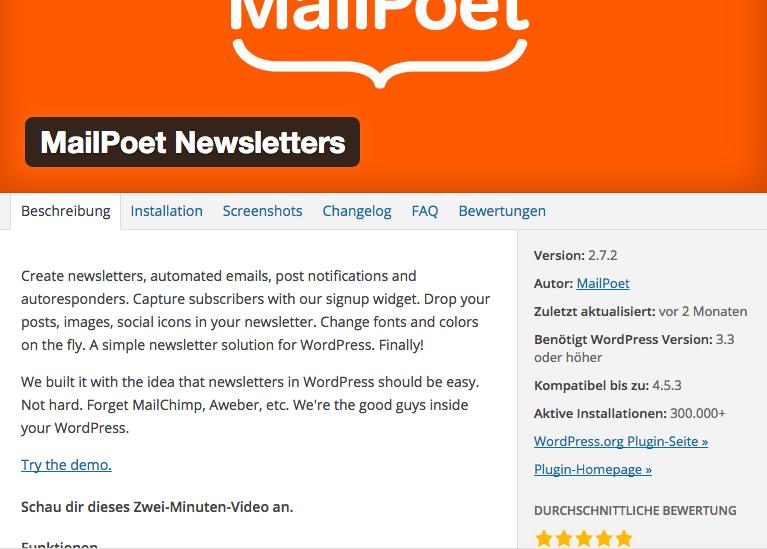 WordPress Newsletter versenden mit dem kostenlosen Mailpoet Plugin