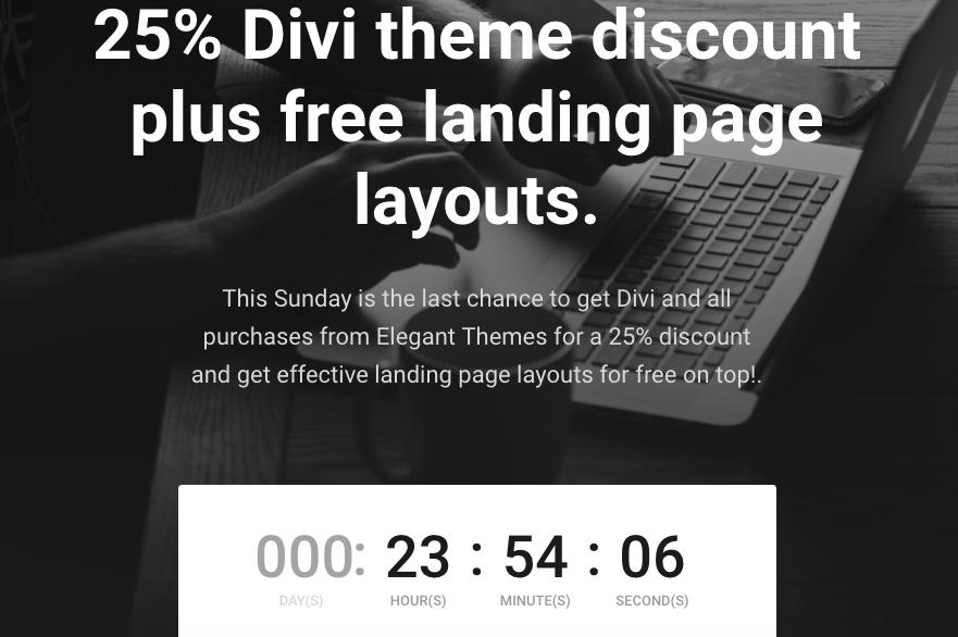 25% Divi Theme Discount mit kostenlosen Landingpage Layout Vorlagen noch bis Sonntag 24.00h US Ostküstenzeit