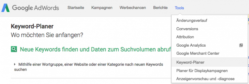 Screenshot Google Keyword Planner