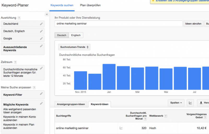 Screenshot Google Keyword Planer