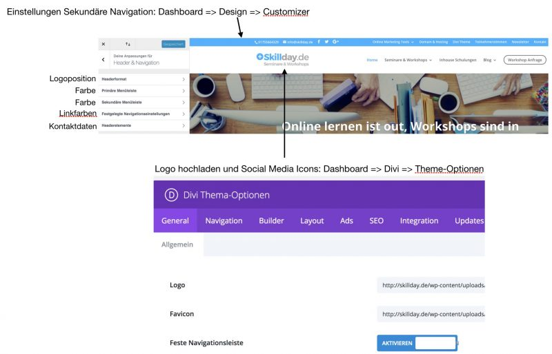 homepage erstellen mit dem WordPress divi theme - skillday.de