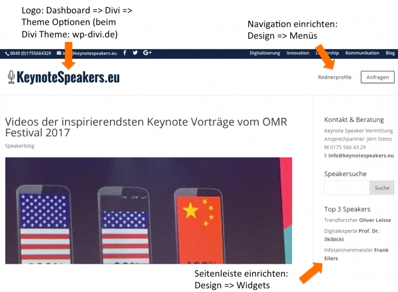 WordPress Navigation und Widgets anpassen