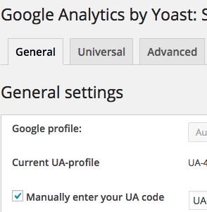 Screenshot Google Analytics Yoast Plugin