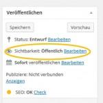 Passwortschutz für WordPress (Screenshot WordPress)