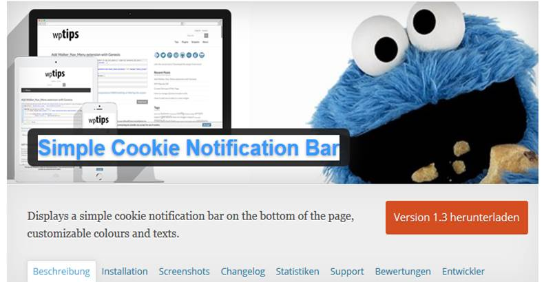 Simple Cookie Notification Bar WordPress Plugin um die EU Cookie Richtlinie umzusetzen