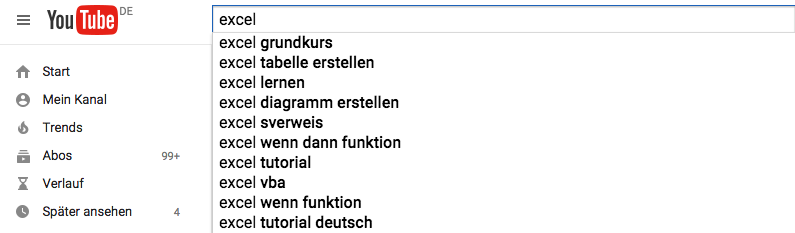 Content Marketing Ideen in YouTube finden. Screenshot Youtube.de