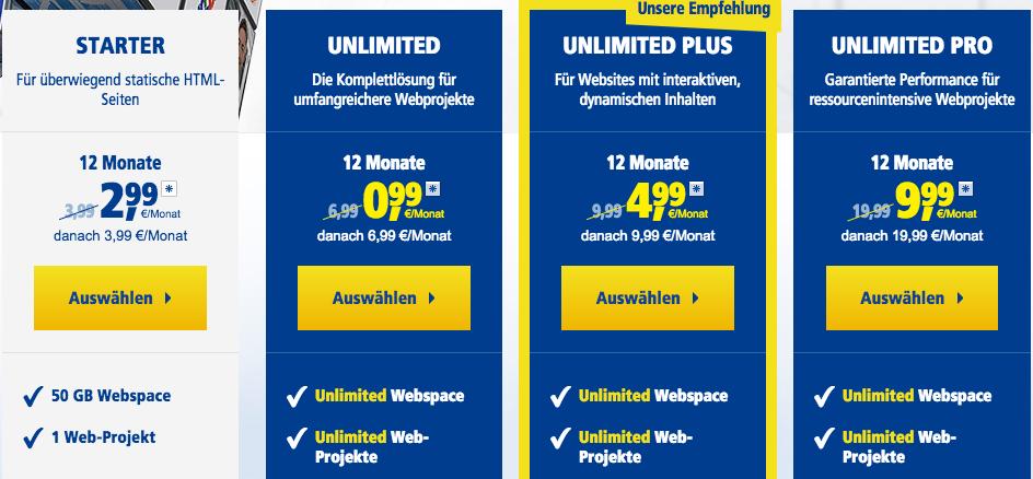 WordPress Hosting Vergleich von 1und1, Strato und Webgo
