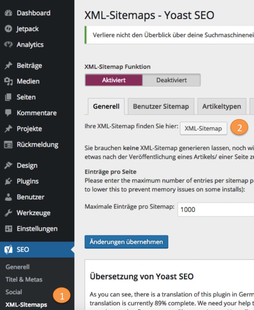 Hier finden Sie die Sitemap aus dem Yoast SEO Plugin (Screenshot WordPress Dashboard / Yoast SEO)
