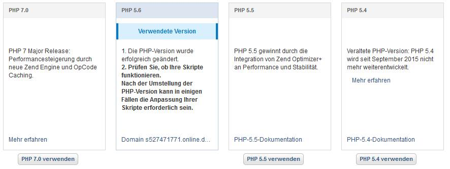 PHP extended support / Screenshot 1und1 Kundencenter