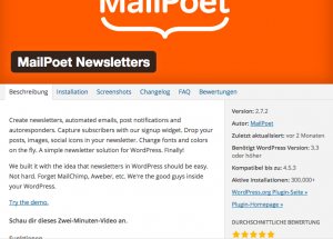 Screenshot Mailpoet Newsletter Plugin