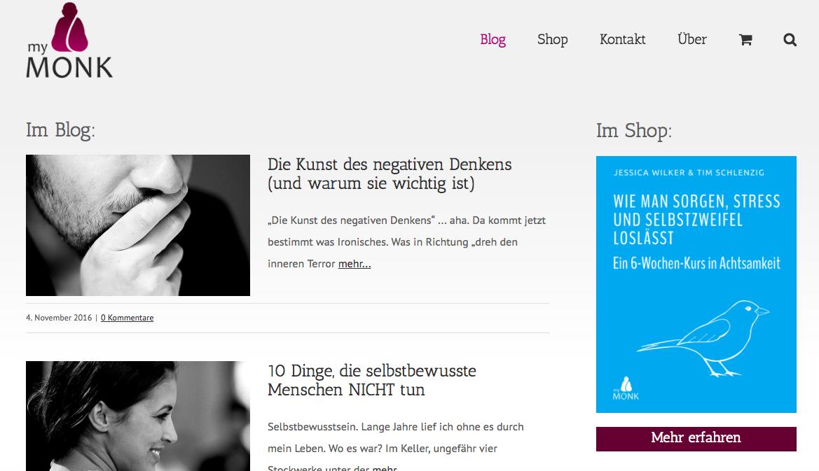 mymonk - Beispiel & Vorlage für einen Blog mit WordPress Online Shop