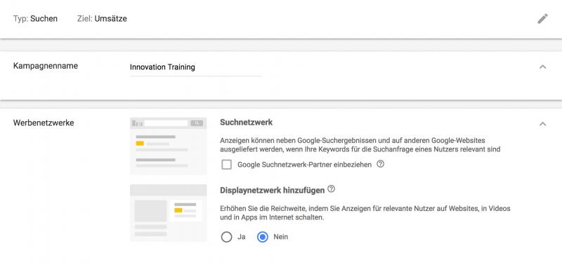 Screenshot Adwords - Google Anzeigen schalten
