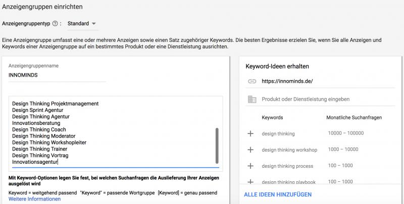 Screenshot Google Adwords - Beispiel Anzeigen erstellen