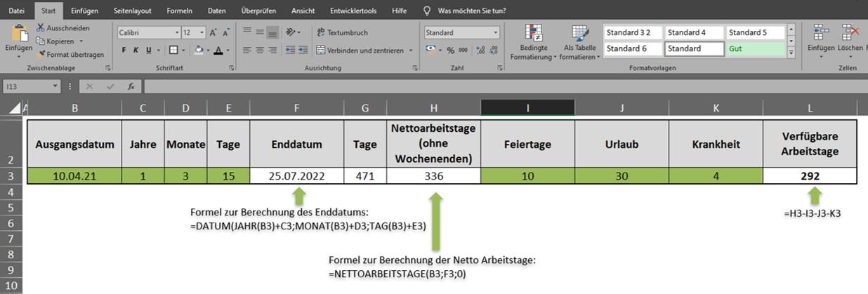 Netto Arbeitstage berechnen Excel